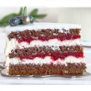 Шоколадный пп торт с малиной и кремом из рикотты